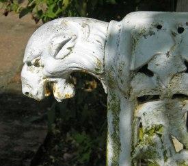 Arm of a garden seat in the Walled Garden