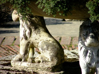 Lion-guarded bowl in the Herb Garden