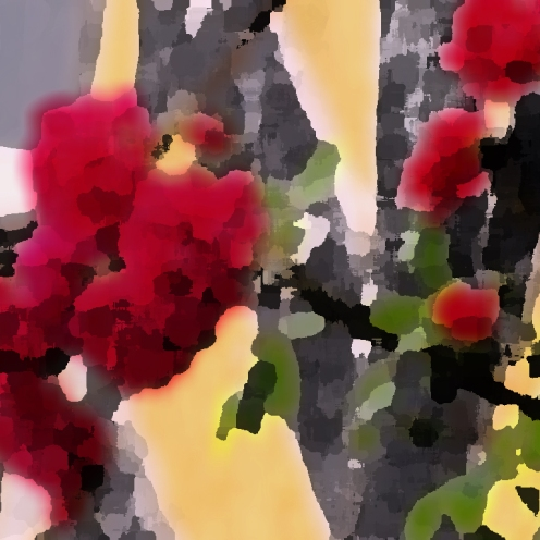 red roses - palette knife