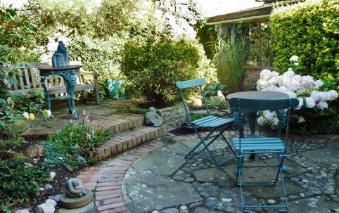 Pretty blue courtyard