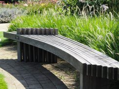 Silvered wooden bench