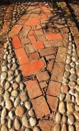 Brick-paved path